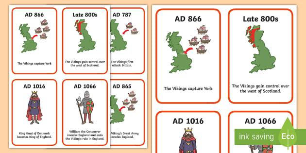 Viking Timeline Cards - Vikings, England, history, timeline