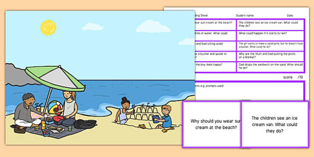 Picnic Scene Blanks Level 4 Questions - receptive language, expressive language, verbal reasoning, language delay, language disorder, comprehension, autism