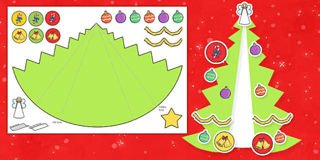 Expanding Christmas Tree Card Cut-out Craft - Cards, Trees, Display, Poster