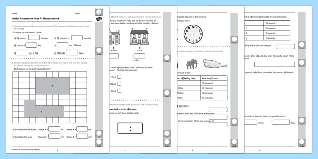 Year 4 Maths Assessment Measurement Term 1 - measuring, assessments