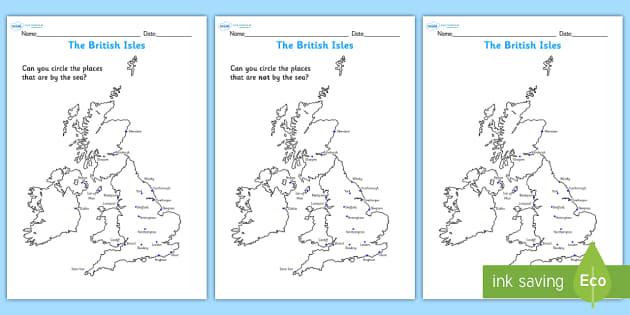 the british isles seaside map worksheet seaside the seaside. Black Bedroom Furniture Sets. Home Design Ideas