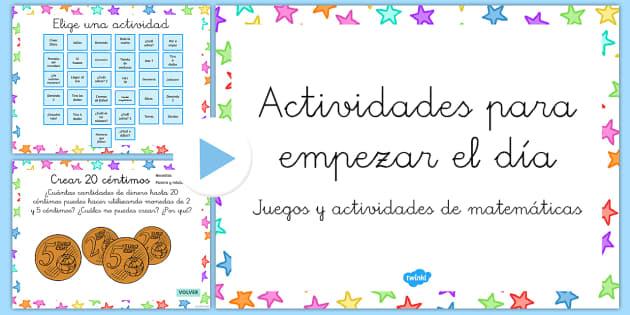 Actividades para empezar el día Presentación-Spanish - sumar, fracciones, restar, operaciones