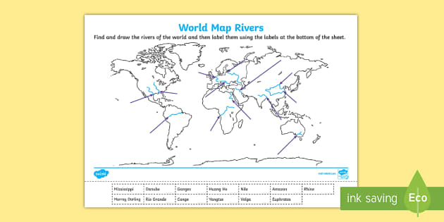 World Map Rivers Labelling Activity  world map rivers