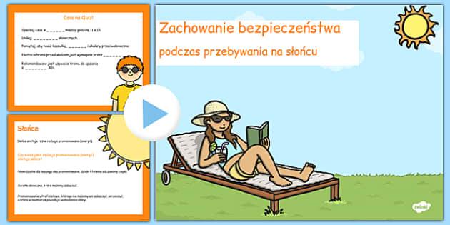 Prezentacja PowerPoint Bezpieczeństwo na słońcu po polsku