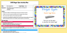 EYFS Easter Egg Gems Finger Gym Activity Plan and Prompt Card Pack