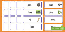 Hat Rhyming Game Word Cards to Support Teaching on Meg and Mog