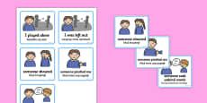 SEN Communication Cards Explanations Boy Polish Translation