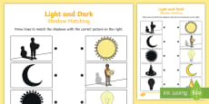Light and Dark Shadow Matching Activity Sheet