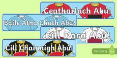 Irish Leinster Counties Abú GAA Display Banner Gaeilge