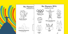 Rio Olympics 2016 Words Colouring Sheet Polish Translation