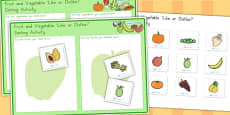 Australia - Fruit and Vegetable Like or Dislike Sorting Activity