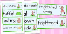 Little Miss Muffet Word Cards (Australia)