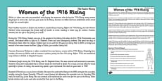 Women of the 1916 Rising Comprehension Think and Respond