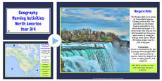 Year 3-4 North America Geography Morning Activities PowerPoint