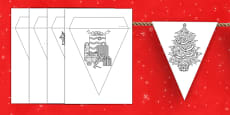 Christmas Themed Mindfulness Colouring Bunting