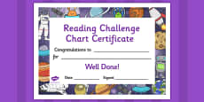 Reading Challenge Chart Certificates Space Themed