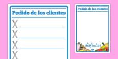 Restaurant Role Play Notepad Spanish