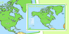 KS1 Geography Continents of the World Posters North America 4xA4