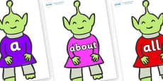100 High Frequency Words on Aliens