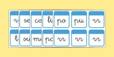 El tiempo y las estaciones del año Tarjetas de sílabas