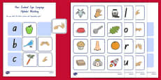 New Zealand Sign Language Alphabet Matching Pack