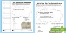 Write Your Own Ten Commandments Writing Activity Sheet
