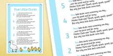 Five Little Ducks Nursery Rhyme Poster