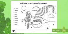 * NEW * Addition to 10 Colour by Number Activity Sheet