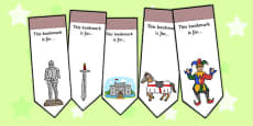 Castles and Knights Editable Bookmarks