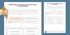 1999 Curriculum Junior Infants Maths Shape and Space Assessment Group Colouring Sheets
