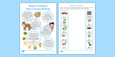 Phase 1 Aspect 4: Rhythm and Rhyme Home Learning Challenges Reception FS2