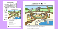 Animals at the Zoo Oral Language Activity Sheet
