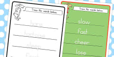 Australia - The Tortoise and the Hare Trace the Words Worksheet