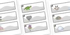 Gorilla Themed Editable Drawer-Peg-Name Labels