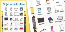 Classroom Objects Large Display Poster Spanish