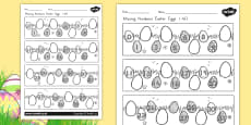 Australia - Missing Numbers Easter Eggs Activity Sheet 0-40