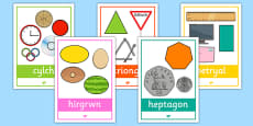 2D Shape Posters with Everyday Examples Cymraeg