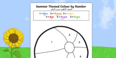SummerThemed Colour by Number Arabic Translation
