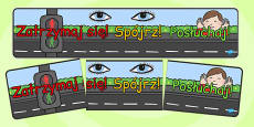 Stop Look Listen Display Banner Polish