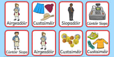 The Clothes Shop Role Play Badges Gaeilge