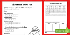 Christmas Word Fun Activity Sheet