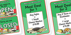 Mexican Restaurant Role Play Signs