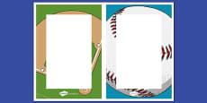 Baseball Themed Editable Notes