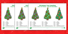 Christmas Tree Counting Activity Sheets English/Romanian