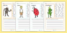Character Description Writing Frame to Support Teaching on James and the Giant Peach