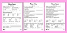 Place Value Activity Sheet Polish Translation
