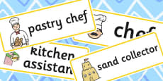 Sand Kitchen Role Play Labels
