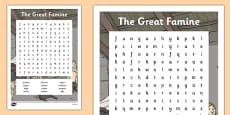 The Great Famine - Word Search