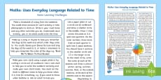 EYFS Uses Everyday Language Related to Time Home Learning Challenges