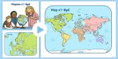 Pŵerbwynt Map o Brydain, Ewrop a'r Byd